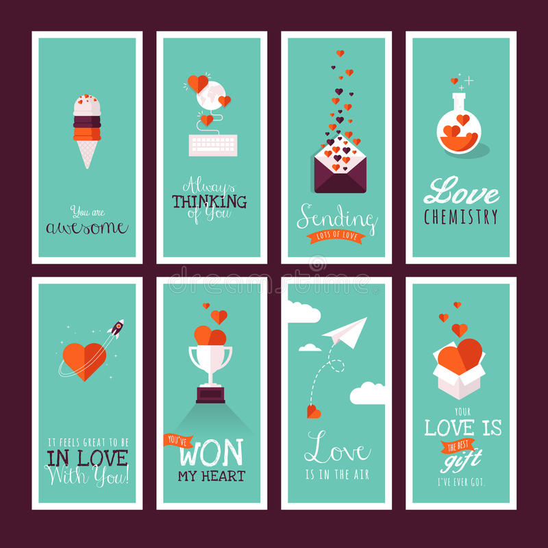 Ensemble de salutation plate moderne de jour de valentines de conception illustration stock