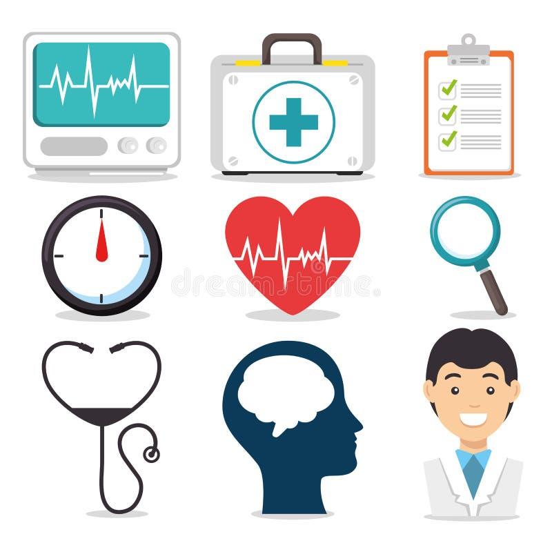 Ensemble de santé mentale et d'icônes médicales illustration de vecteur