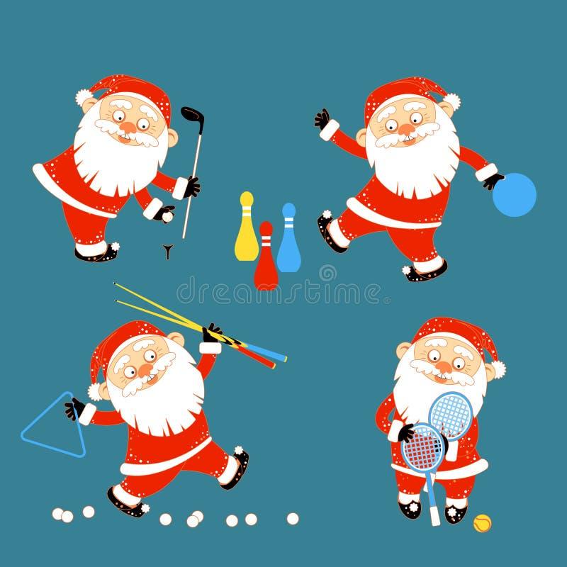 Ensemble de Santa Claus jouant des jeux de sports illustration libre de droits