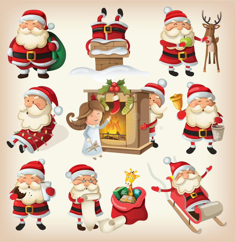 Ensemble de Santa Clauses illustration stock