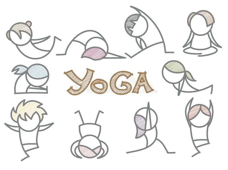 Ensemble de schéma yoga de dessin animé illustration stock