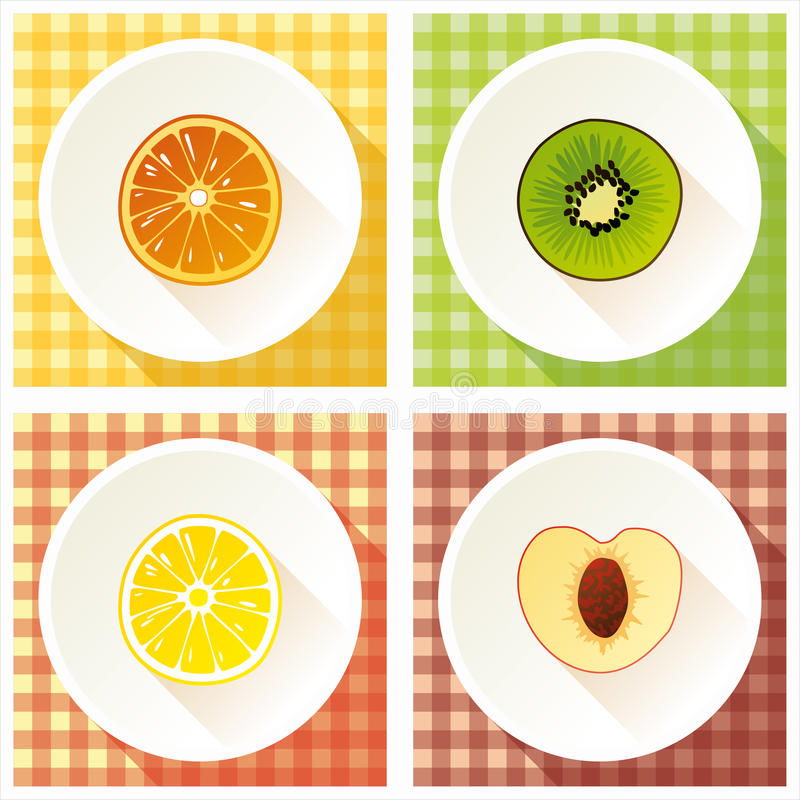 Ensemble de section transversale de fruit photos stock