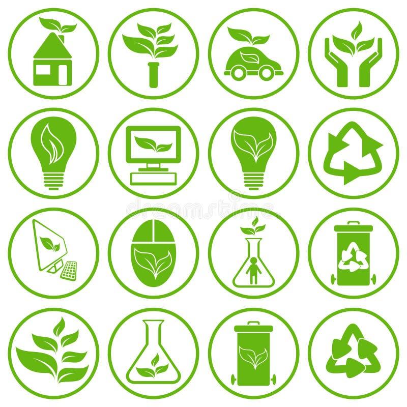 Ensemble de seize icônes d'écologie illustration de vecteur