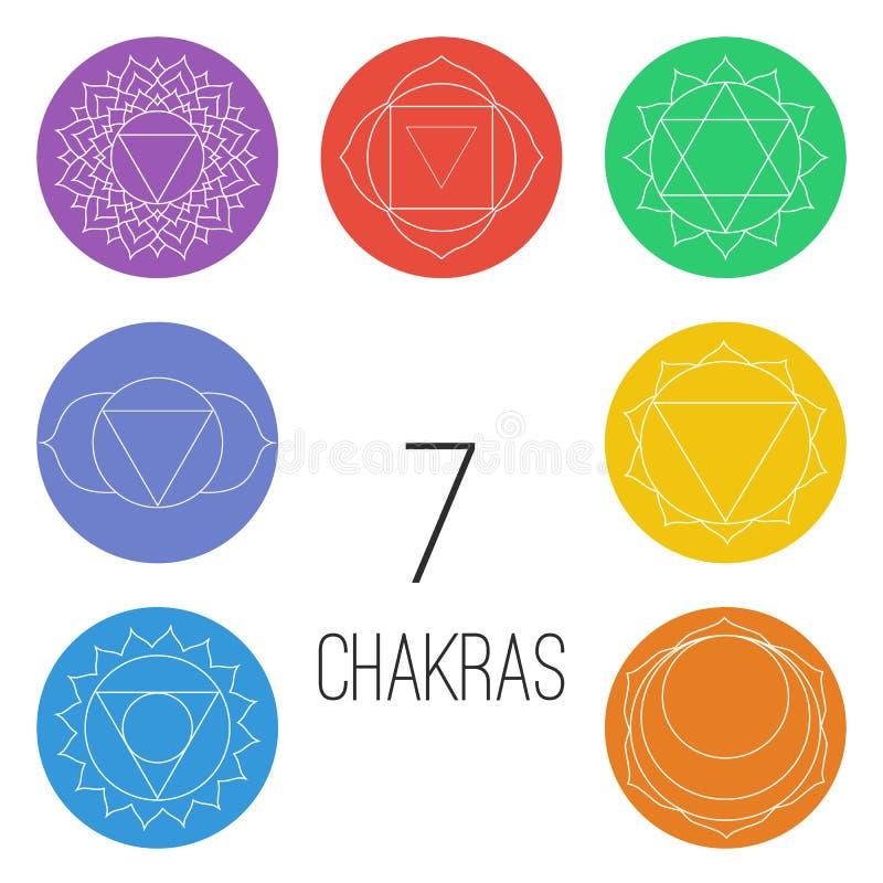 Ensemble de sept chakras sur les formes colorées Illustration linéaire de caractère d'hindouisme et de bouddhisme illustration stock