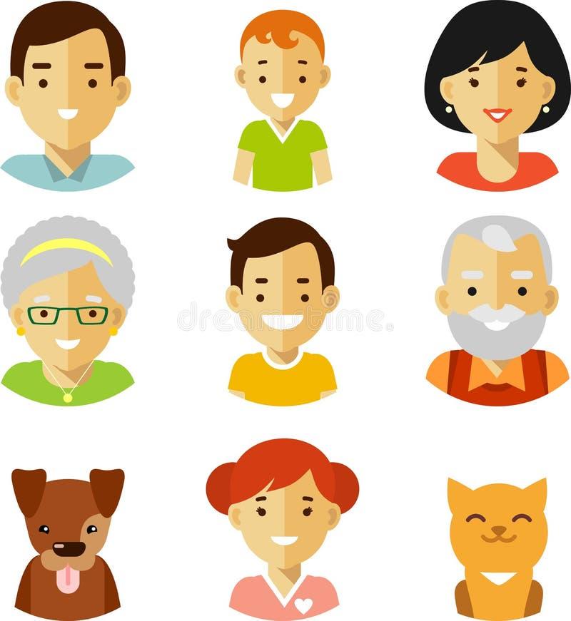 Ensemble de sept icônes d'avatars de membres de la famille dans le style plat illustration stock