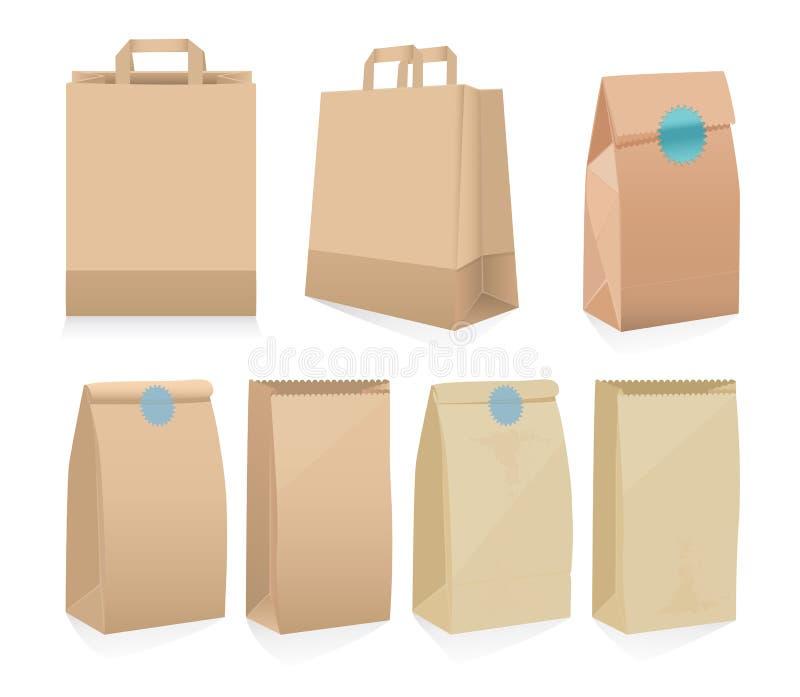 Ensemble de sept sacs en papier bruns recyclables illustration stock