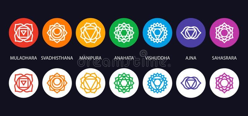 Ensemble de sept symboles de chakra avec des noms illustration stock