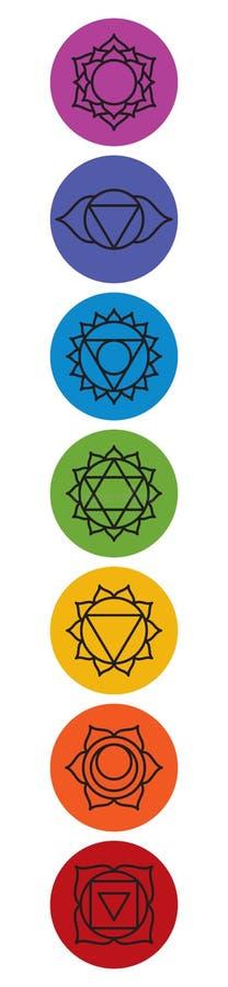 Ensemble de sept symboles de chakra Yoga, méditation illustration libre de droits