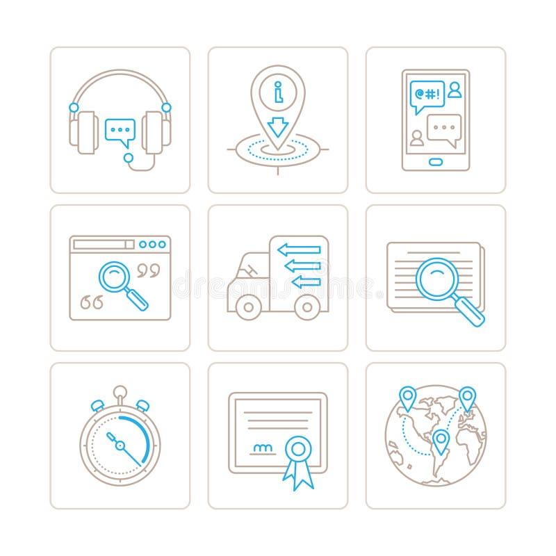 Ensemble de service de vecteur ou icônes et concepts de soutien dans la ligne style mince mono illustration stock