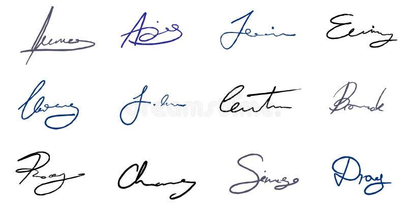 Ensemble de signature de vecteur illustration de vecteur