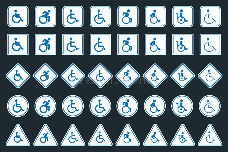 Ensemble de signe d'handicap, icônes handicapées illustration de vecteur