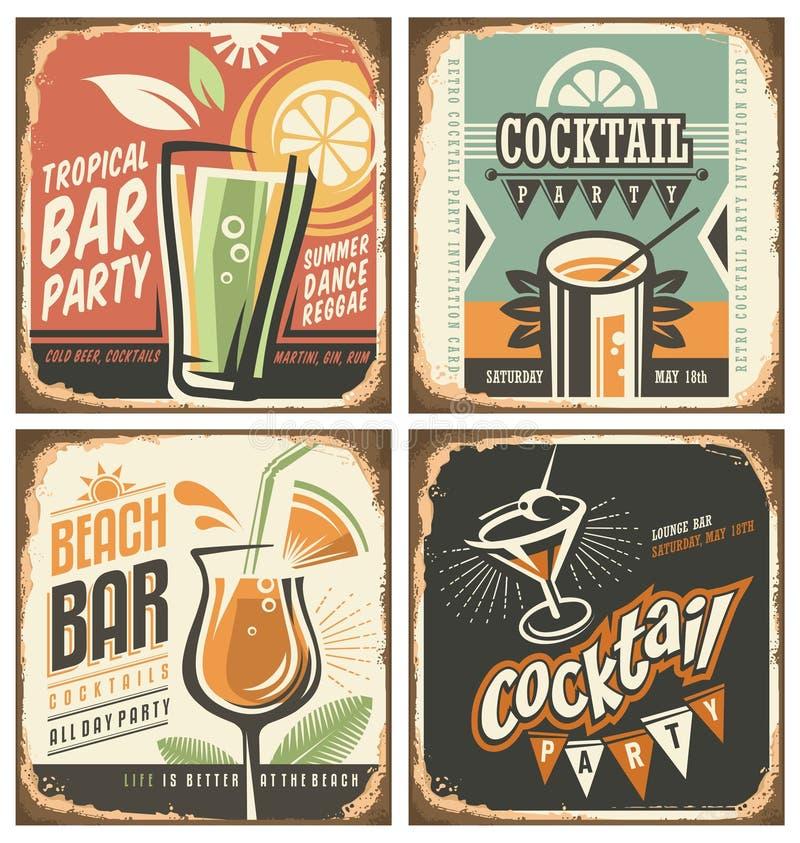 Ensemble de signe de bidon de barre de cocktail rétro illustration stock