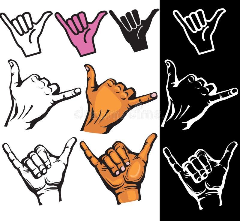 Ensemble de signe de main de Shaka illustration de vecteur