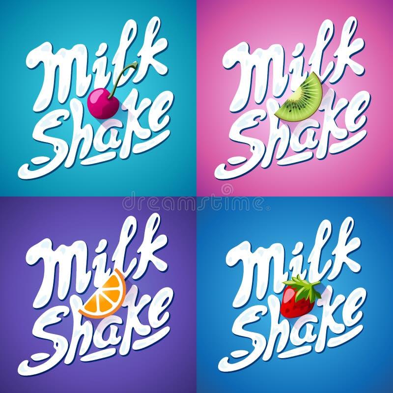 Ensemble de signe de milkshake de lettrage avec la fraise, kiwi, orange, cerise - label illustration stock