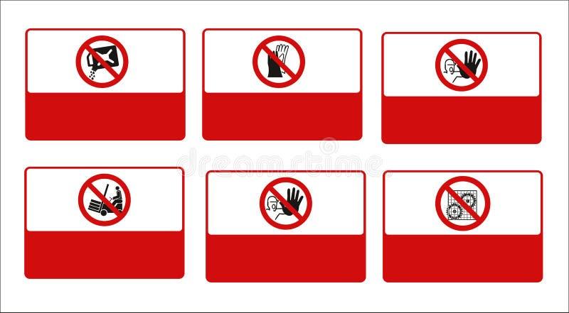 Ensemble de signe obligatoire, de signe de risque, de signes interdits de signe, de sécurité du travail et de santé, enseigne  illustration stock