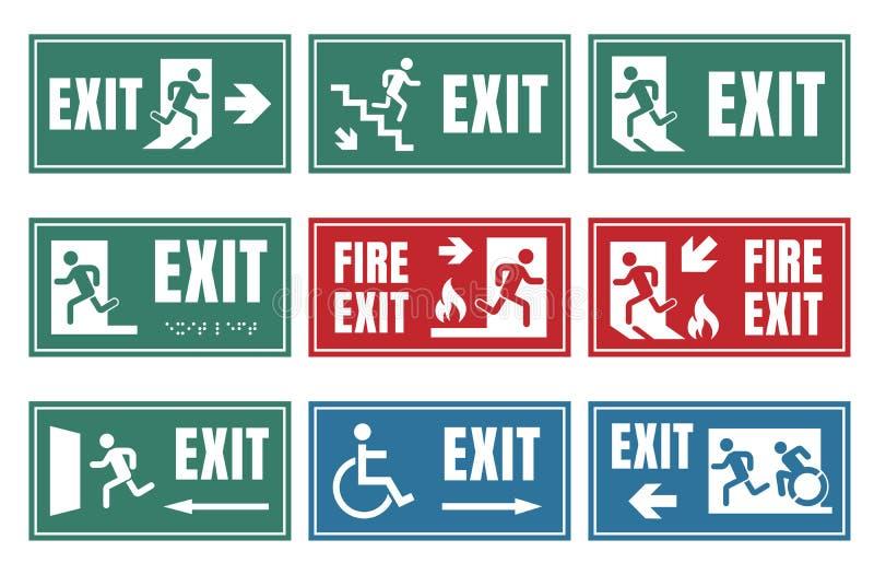 Ensemble de signe de porte de sortie, label de sortie de secours de secours illustration de vecteur