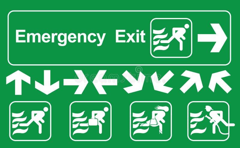 Ensemble de signe de sortie de secours : La sortie de secours verte se connectent le blanc, signes de sortie de secours, illustra illustration de vecteur