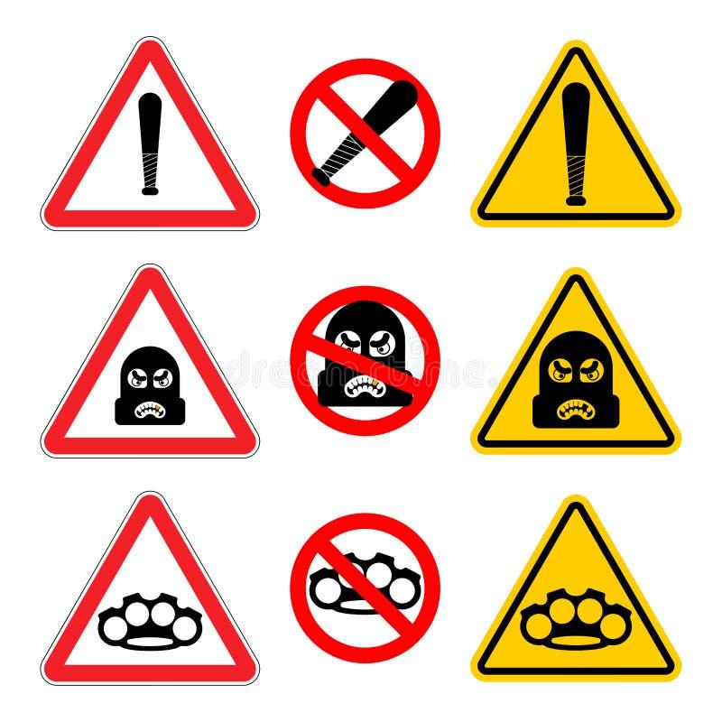 Ensemble de signe de voleur d'attention Arrêtez l'escroc de précaution C'est B interdit illustration libre de droits