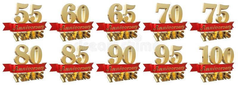 Ensemble de signes d'or d'anniversaire, symboles illustration stock
