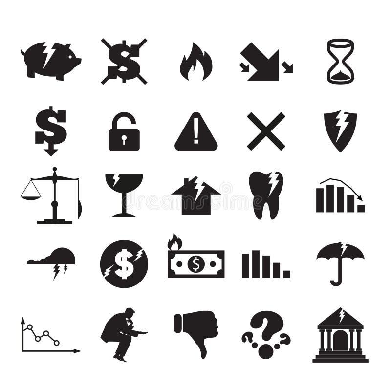 Ensemble de signes et de logos d'affaires de crise illustration de vecteur
