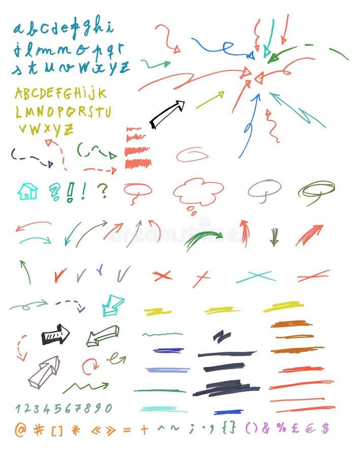 Ensemble de signes graphiques tirés par la main. illustration stock