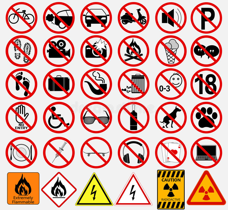 Ensemble de signes pour différentes activités interdites illustration de vecteur