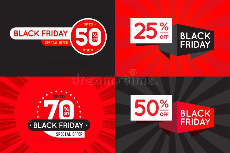 Ensemble de signes de vente de FB de Black Friday, bannières, affiches, cartes Vecteur illustration de vecteur