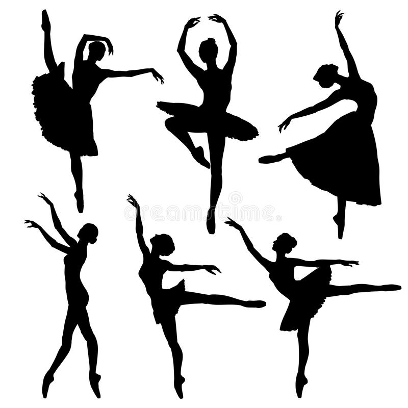 Ensemble de silhouette de ballerine illustration de vecteur