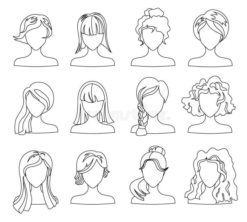 Ensemble De Silhouette De Coiffure Femme Fille Cheveux Femelles Visage Pour Livre De Coloriage Vecteur De Beaute Avatars Plat Illustration De Vecteur Illustration Du Femelles Ensemble 127664643