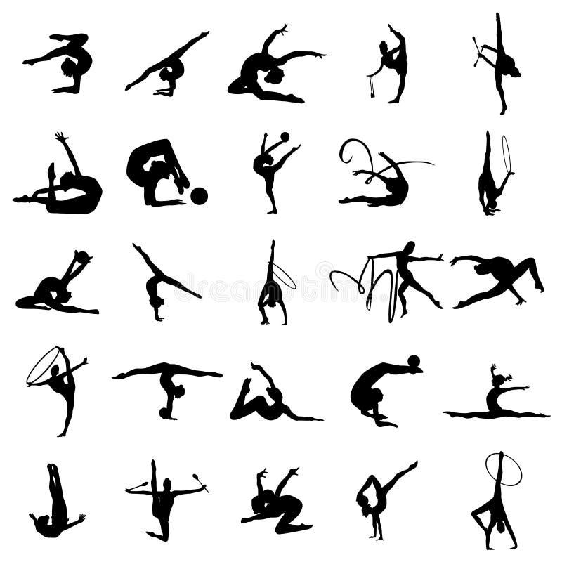 Ensemble de silhouette d'athlète de gymnaste illustration libre de droits