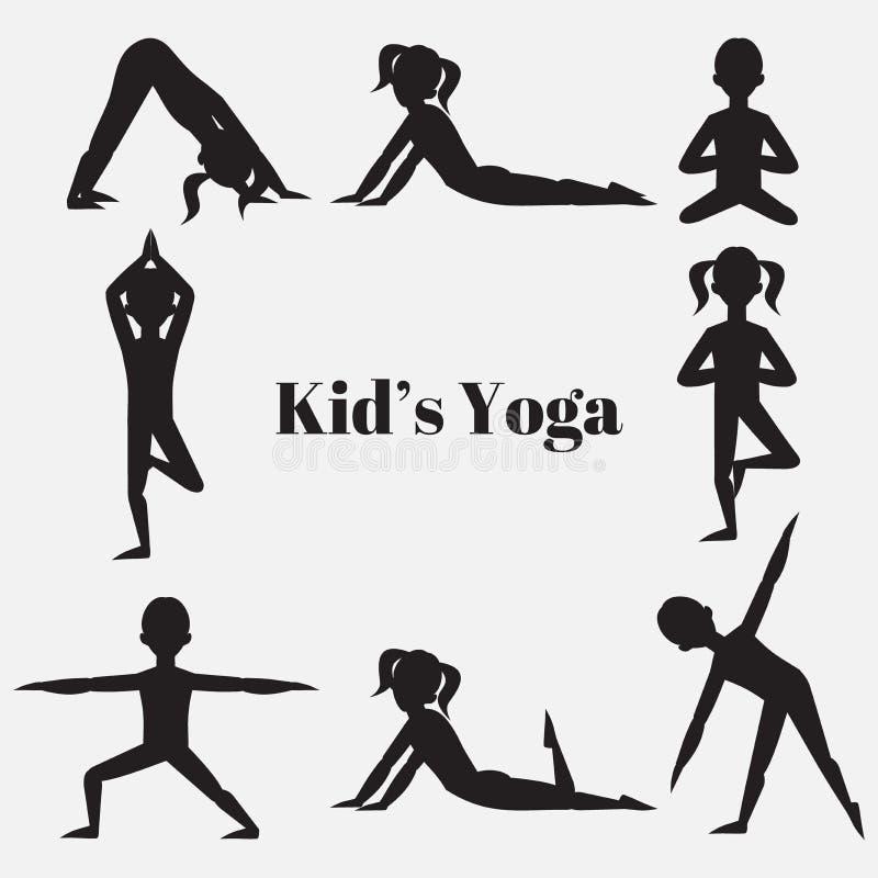 Ensemble de silhouette d'enfants de yoga Gymnastique pour des enfants et le mode de vie sain Exercices de yoga Classe de yoga, ce illustration de vecteur