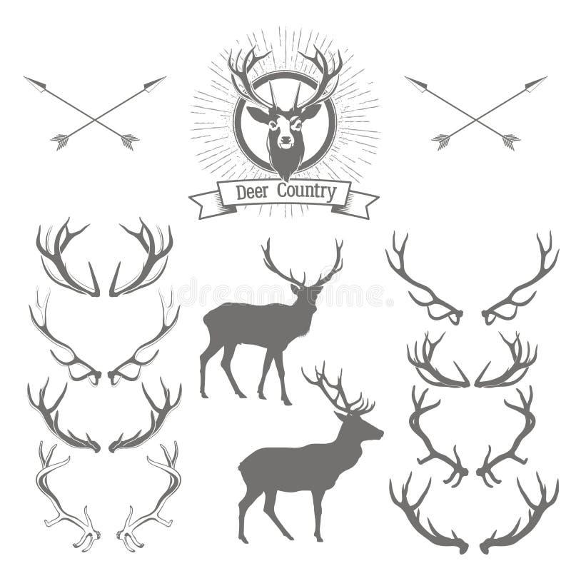Ensemble de silhouette de cerfs communs, de tête de cerfs communs et d'andouillers Desig de logo de cerfs communs illustration libre de droits