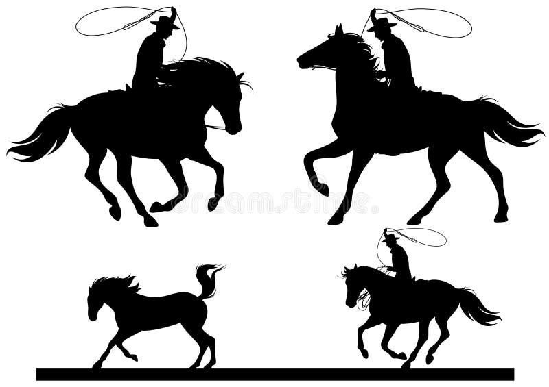 Ensemble de silhouette de cowboy illustration de vecteur
