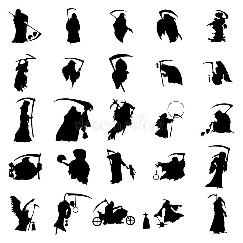 Ensemble de silhouette de faucheuse illustration libre de droits