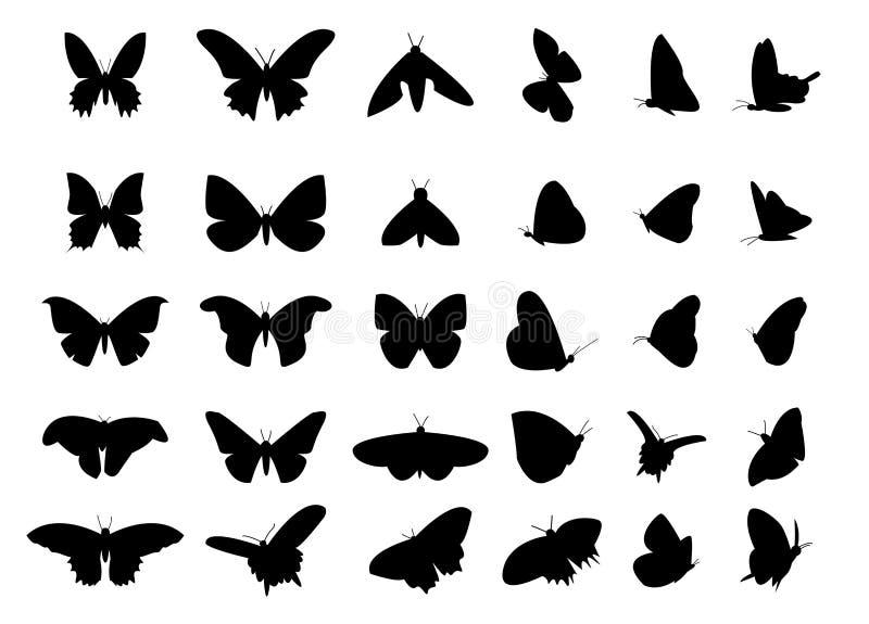 Ensemble de silhouette de papillon de vol, vecteur d'isolement illustration libre de droits