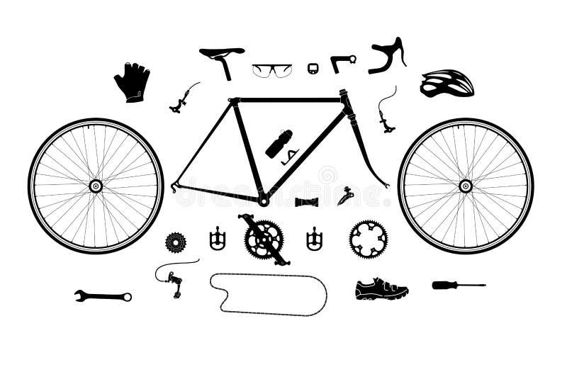 Ensemble de silhouette de pièces et d'accessoires de bicyclette de route, éléments pour infographic, etc. illustration de vecteur