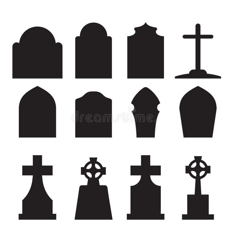 Ensemble de silhouette de pierre tombale et de pierre tombale illustration libre de droits