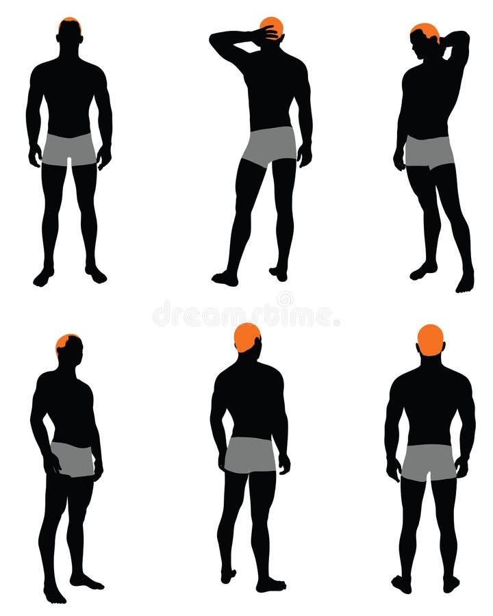 Ensemble de silhouette des hommes illustration libre de droits