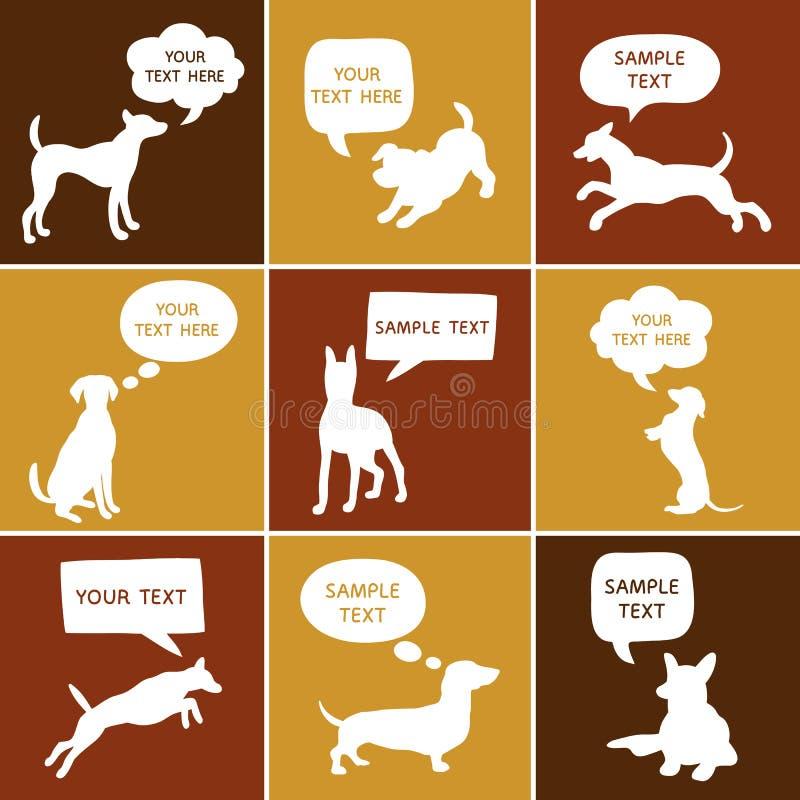 Ensemble de silhouette mignonne de chiens avec des bulles de la parole illustration stock