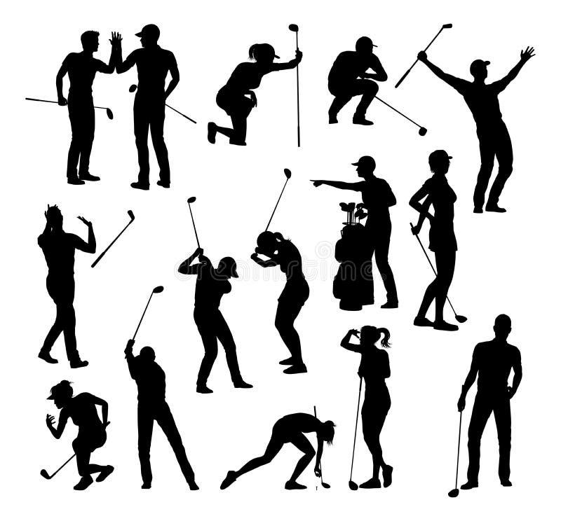 Ensemble de silhouette de personnes de sports de golf de golfeur illustration de vecteur
