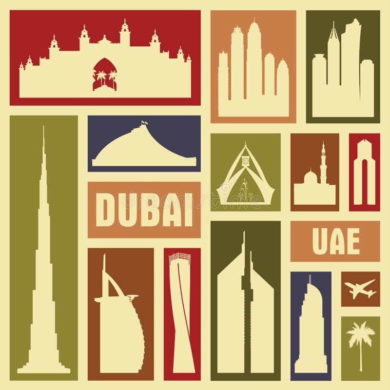 Ensemble de silhouette de symbole d'icône de vecteur de ville de Dubaï EAU illustration stock