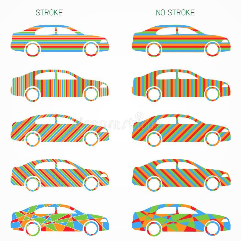 Ensemble de silhouettes de voiture de couleur illustration libre de droits