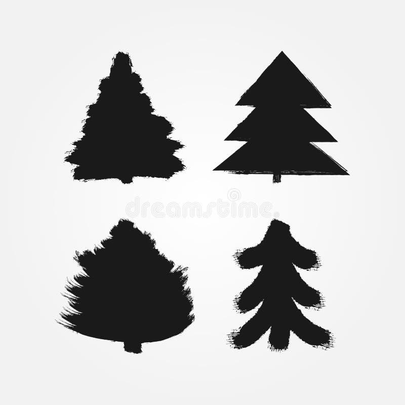 Ensemble de silhouettes abstraites des arbres de Noël peints avec une brosse rugueuse Grunge, croquis, encre, peinture, aquarelle illustration libre de droits