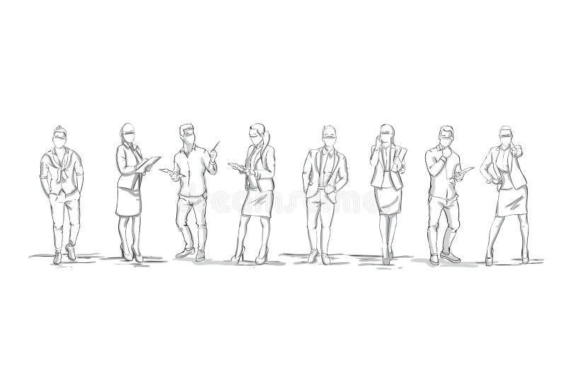 Ensemble de silhouettes de croquis des chiffres femmes d'affaires et hommes d'affaires d'hommes d'affaires intégraux sur le fond  illustration stock