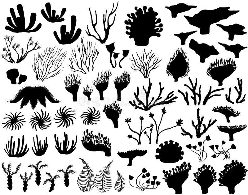 Ensemble de silhouettes d'espèce marine illustration libre de droits