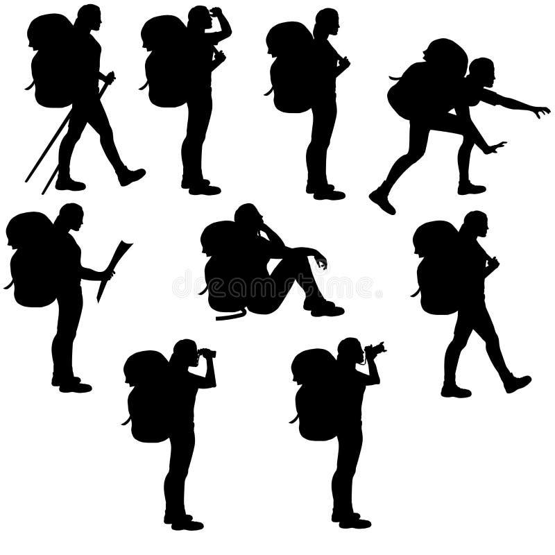 Ensemble de silhouettes d'isolement de filles de randonneur illustration de vecteur