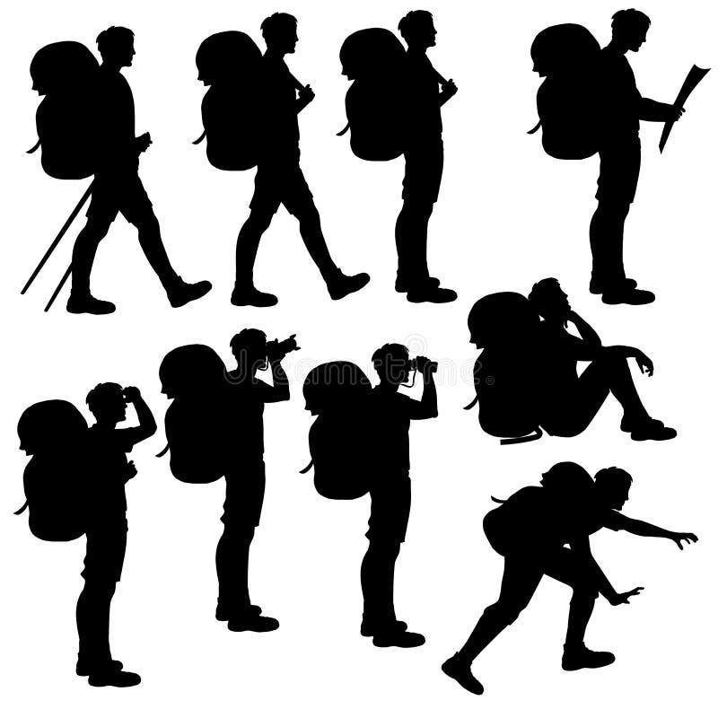 Ensemble de silhouettes d'isolement de randonneur photographie stock libre de droits