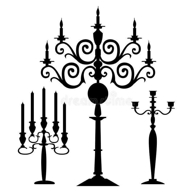 Ensemble de silhouettes de candélabres de vecteur illustration libre de droits