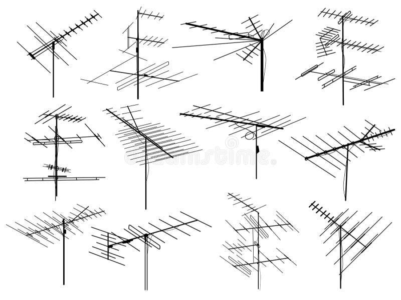 Ensemble de silhouettes de fil d'antenne de télévision différente. illustration libre de droits
