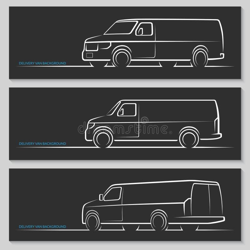 Ensemble de silhouettes de fourgon de livraison de vecteur ou de véhicules utilitaires illustration de vecteur